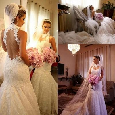Sexy Mermaid Wedding Dresses Cheap Online  High Neck Grace Full Lace See Through Back vestidos de novia_6
