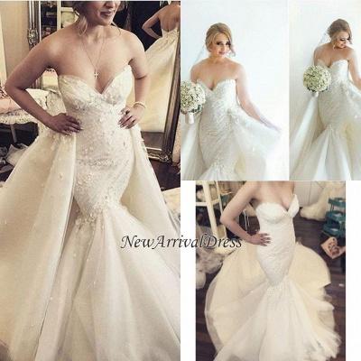 Ruffles Luxurious Strapless Sleeveless Mermaid Sexy Open Back Detachable Train Floral Wedding Dresses Cheap Online_1