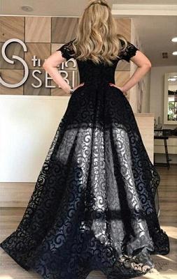 Black Short-Sleeve Lace Hi-Lo Sexy Prom Dress_3