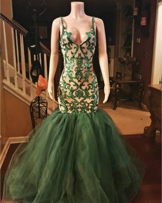 Sexy Green Mermaid Spaghettis Straps Appliques Prom Dresses_3