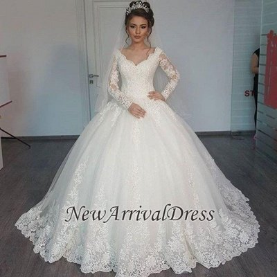 Long Sleeve Tulle V-Neck Elegant Vintage Lace Ball Gown Wedding Dresses Cheap Online_1