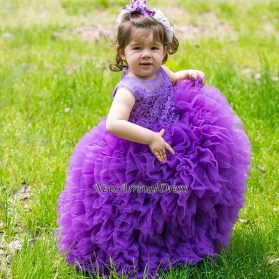 Floor-Length Sleeveless Purple Lovely Ball-Gown Lace Flower-Girl Dress
