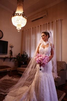 Sexy Mermaid Wedding Dresses Cheap Online  High Neck Grace Full Lace See Through Back vestidos de novia_4