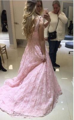 Pink V-neck Long Lace Sheer Fashion A-line Evening Dresses_3