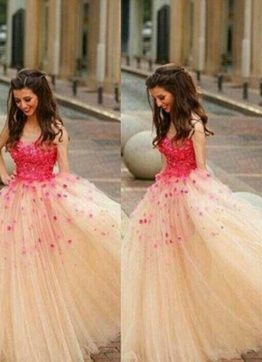 Puffy Long A-line Prom Dresses Red Flowers Tulle Sleeveless Junior Formal Party Dresses_1