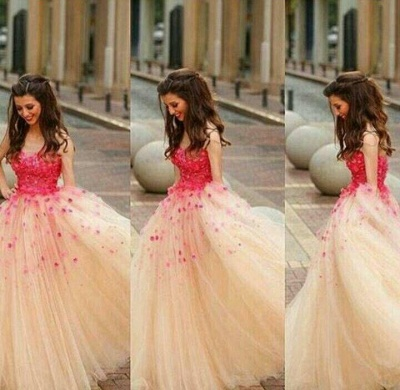 Puffy Long A-line Prom Dresses Red Flowers Tulle Sleeveless Junior Formal Party Dresses_2