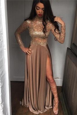 High Neck Champagne Gold Long Formal Dress Slit Long Sleeve Illusion Prom Dress FB0061_1