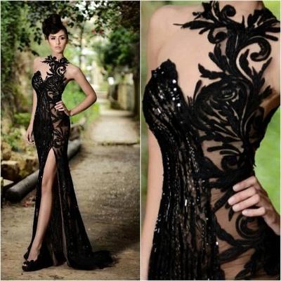 Sexy Black Prom Dress|Mermaid Evening Dress With Slit_5