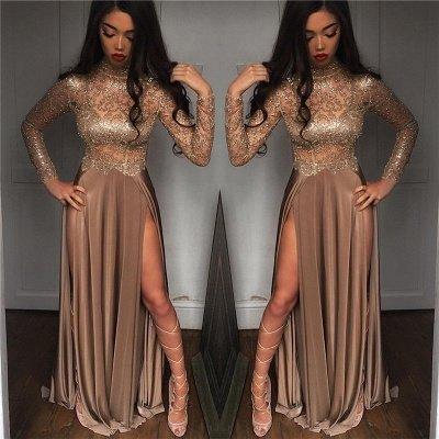 High Neck Champagne Gold Long Formal Dress Slit Long Sleeve Illusion Prom Dress FB0061_3