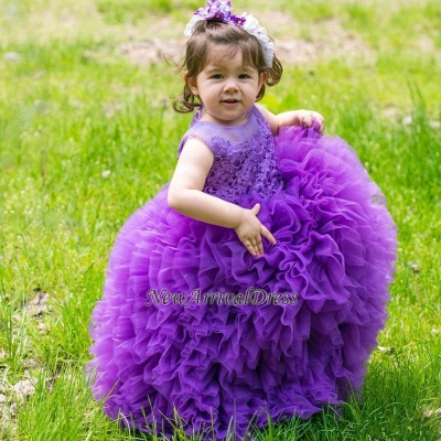 Floor-Length Sleeveless Purple Lovely Ball-Gown Lace Flower-Girl Dress