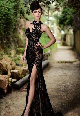 Sexy Black Prom Dress|Mermaid Evening Dress With Slit_1