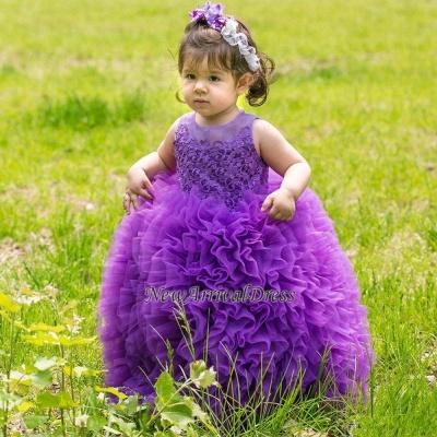 Floor-Length Sleeveless Purple Lovely Ball-Gown Lace Flower-Girl Dress_3