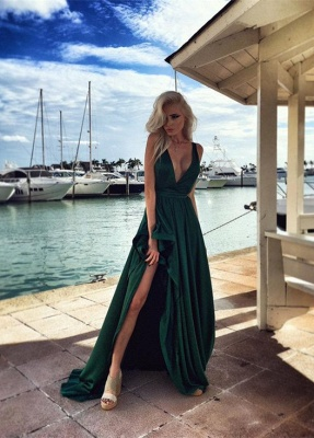 Elegant Long Split Green Prom Dresses 2018 V Neck Party Gown