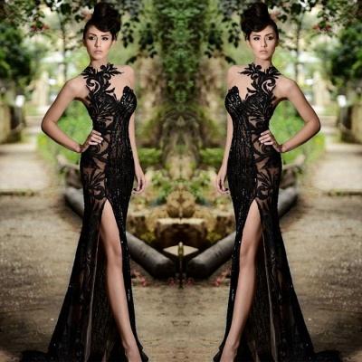 Sexy Black Prom Dress|Mermaid Evening Dress With Slit_4