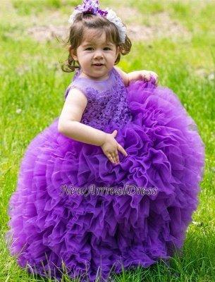 Floor-Length Sleeveless Purple Lovely Ball-Gown Lace Flower-Girl Dress_4