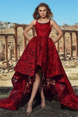 New Arrival Lace Hi-Lo Prom Dresses Sexy Online | Straps Simple Formal Dresses Cheap_1
