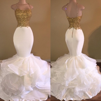 Mermaid Spaghetti Straps Evening Gowns | Lace Appliques Sleeveless Ruffles Prom Dresses Cheap_3