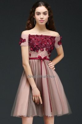 Off-the-Shoulder Burgundy-Flowers Short-Sleeves Knee-Length Homecoming Dresses_5
