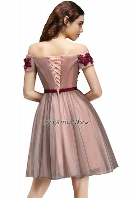 Off-the-Shoulder Burgundy-Flowers Short-Sleeves Knee-Length Homecoming Dresses_3