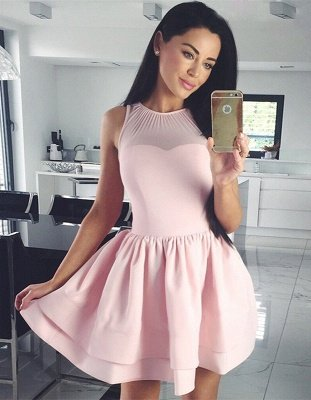 Cute Pink Illusion Ruffled Homecoming Dress | Short A-line Party Gown_1