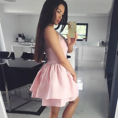 Cute Pink Illusion Ruffled Homecoming Dress | Short A-line Party Gown_4