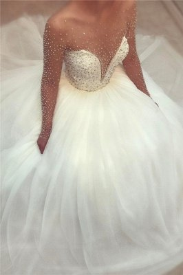 Sheer Tulle Beads Sequins Wedding Dress with Sleeves | Puffy Tulle Sexy Sparkly Bridal Gowns 2019_1