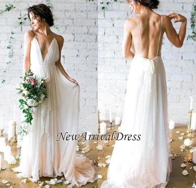 Chiffon V-Neck Beach Elegant Sleeveless Long Wedding Dresses Cheap Online_1