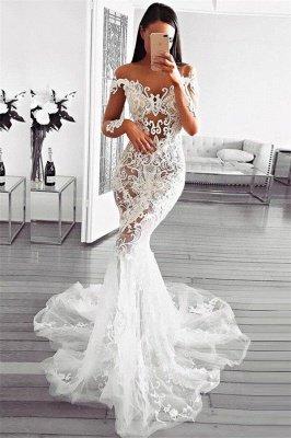 Gorgeous Mermaid Off Shoulder Wedding Dresses   Long Sleeve Appliques Sheer Bridal Dresses_1