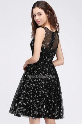Modest Illusion Short Zipper A-line Sleeveless Belt Homecoming Dress_4