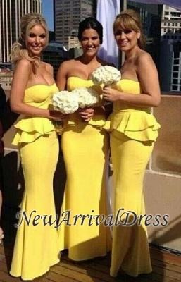 Ruffles Bright-Yellow Long Peplum Mermaid Bridesmaid Dresses_1