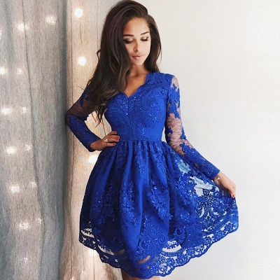 Cute Royal Blue Lace Long Sleeve Homecoming Dress | 2019 Short Party Gown_3