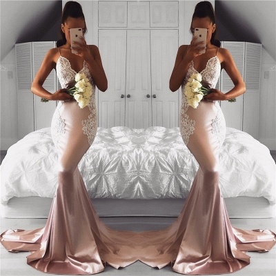 Spaghetti Straps Mermaid Prom Dresses Cheap | Lace Sexy Long Formal Dress_3