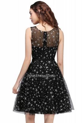 Modest Illusion Short Zipper A-line Sleeveless Belt Homecoming Dress_6
