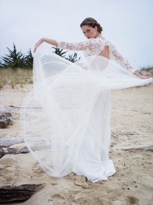 V-neck Elegant A-Line 3/4  Sleeve Lace Wedding Dresses | Beautiful Simple Beach Wedding Dresses Cheap_3