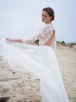 V-neck Elegant A-Line 3/4  Sleeve Lace Wedding Dresses | Beautiful Simple Beach Wedding Dresses Cheap_4