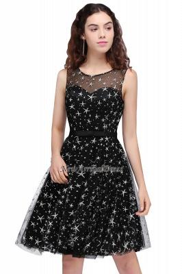 Modest Illusion Short Zipper A-line Sleeveless Belt Homecoming Dress_2