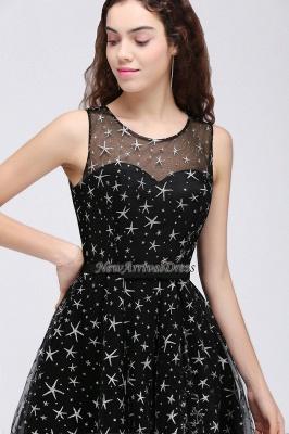 Modest Illusion Short Zipper A-line Sleeveless Belt Homecoming Dress_3