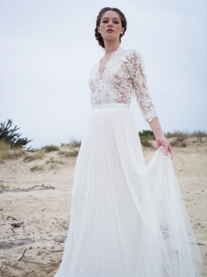 V-neck Elegant A-Line 3/4  Sleeve Lace Wedding Dresses | Beautiful Simple Beach Wedding Dresses Cheap_2