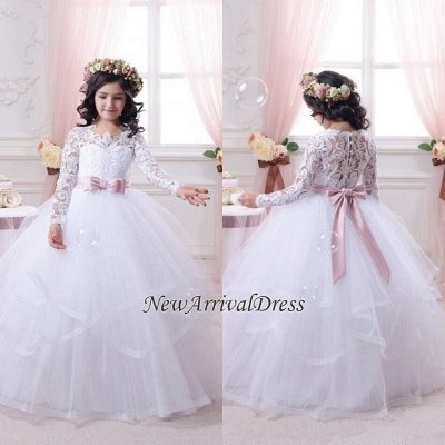 Lace-Appliques Ball-Gown Long-Sleeves Flower-Girl-Dresses_1