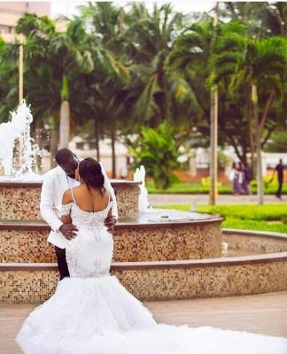 Cap-Sleeve Gorgeous Appliques Plus Size Mermaid Lace Wedding Dresses Cheap Online_4