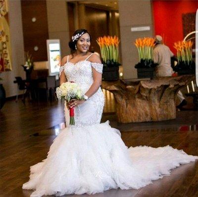 Cap-Sleeve Gorgeous Appliques Plus Size Mermaid Lace Wedding Dresses Cheap Online_5
