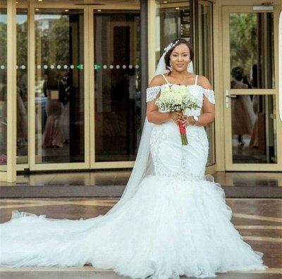 Cap-Sleeve Gorgeous Appliques Plus Size Mermaid Lace Wedding Dresses Cheap Online_3