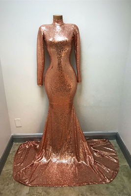 High Neck Sequins Prom Dresses Cheap  Mermaid Long Sleeve Evening Gowns_1