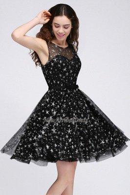 Modest Illusion Short Zipper A-line Sleeveless Belt Homecoming Dress_5