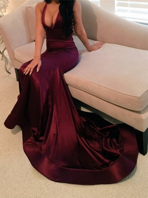 Sexy V-Neck Wine Red Sleeveless Prom Dress 2018 Mermaid BA4623 BK0