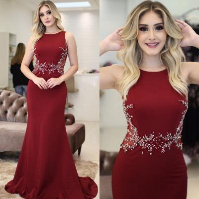 Beading Burgundy Sleeveless Scoop Elegant Mermaid Prom dresses_4