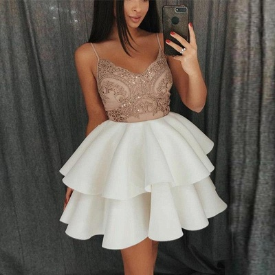 Newest Lace Ruffled Spaghetti Strap Homecoming Dress | Short 2019 Party Gown_4