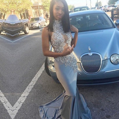 Silver Mermaid Prom Dress |Lace Long Evening Gowns_3