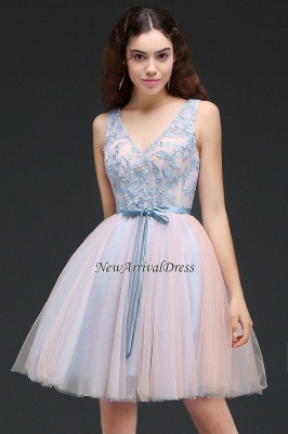 V-Neck Puffy Sky-Blue Flowers-Beaded Fairy Homecoming Dresses_6