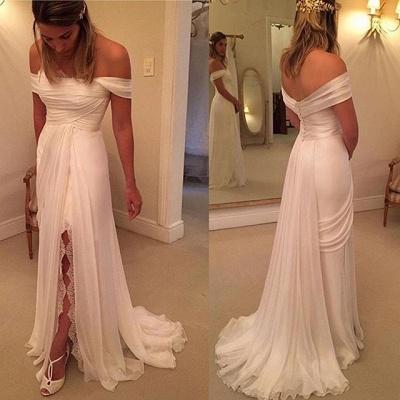 Lace Side Slit Chiffon Off The Shoulder Wedding Dresses Cheap_3